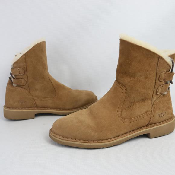 35fd7a25dea Ugg Naiyah Suede Shearline Boots Chestnut Sz 7.5
